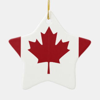 Canadian flag ceramic star ornament