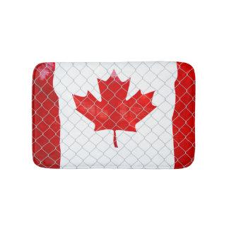 Canadian Flag. Chain Link Fence. Rustic. Cool. Bath Mat