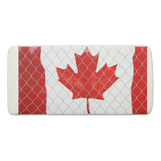 Canadian Flag. Chain Link Fence. Rustic. Cool. Eraser