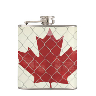 Canadian Flag. Chain Link Fence. Rustic. Cool. Hip Flask