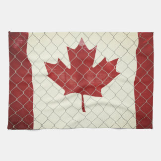 Canadian Flag. Chain Link Fence. Rustic. Cool. Kitchen Towel