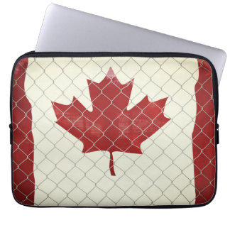 Canadian Flag. Chain Link Fence. Rustic. Cool. Laptop Sleeve