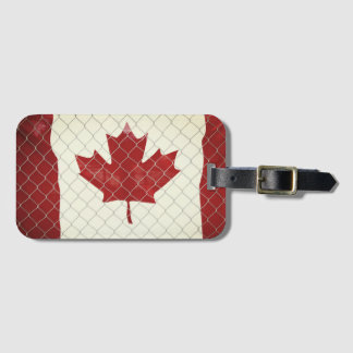 Canadian Flag. Chain Link Fence. Rustic. Cool. Luggage Tag