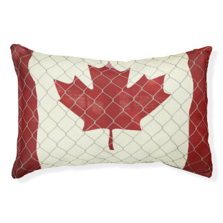 Canadian Flag. Chain Link Fence. Rustic. Cool. Pet Bed