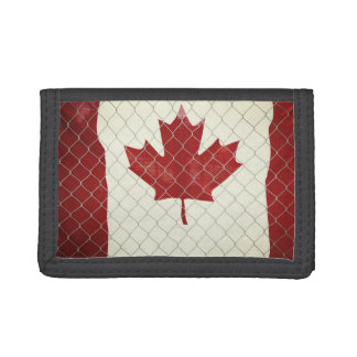 Canadian Flag. Chain Link Fence. Rustic. Cool. Tri-fold Wallet