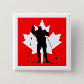 Canadian flag crosscountry skier 2 inch square button