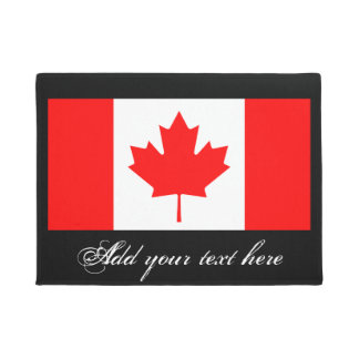 Canadian flag door mat with vintage typography