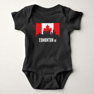 Canadian Flag Edmonton Skyline Baby Bodysuit