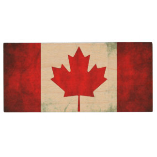 Canadian Flag Grunge Wood USB Flash Drive