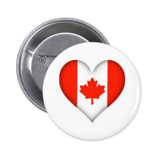 Canadian Flag Heart 2 Inch Round Button