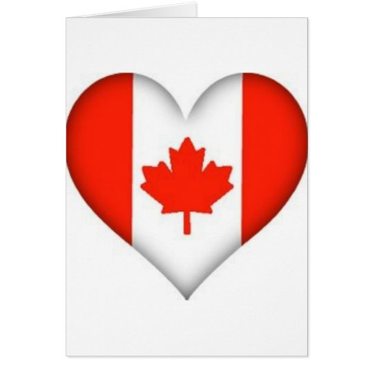 canadian flag heart design card