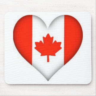 canadian flag heart design mouse pad