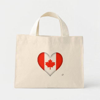 Canadian Flag Heart Mini Tote Bag
