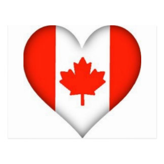 Canadian Flag Heart Post Cards
