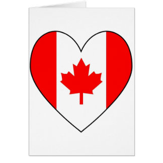 Canadian Flag Heart Valentine Card