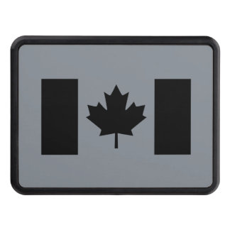 Canadian Flag in Black Style Hitch Cover