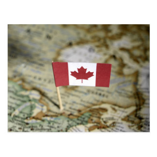 Canadian flag in map postcard