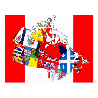 Canadian Flag Map Postcard
