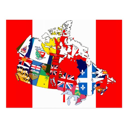 Canadian Flag Map Post Card