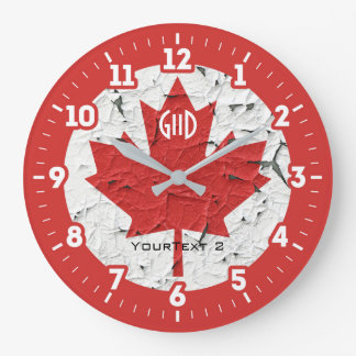 Canadian Flag Maple Leaf on a Large Clock