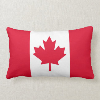 Canadian Flag Maple Leaf Red White Canada Lumbar Pillow