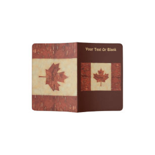 Canadian Flag On Inner Birch Bark Passport Holder