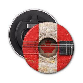 Canadian Flag on Old Acoustic Guitar Button Bottle Opener