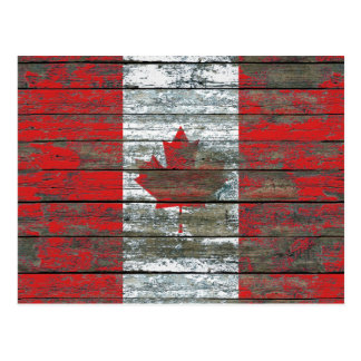Canadian Flag on Rough Wood Boards Effect Postcard