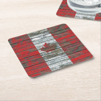 Canadian Flag on Rough Wood Boards Effect Square Paper Coaster