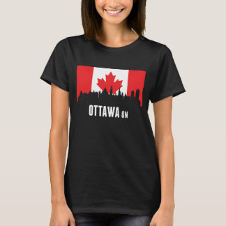 Canadian Flag Ottawa Skyline T-Shirt
