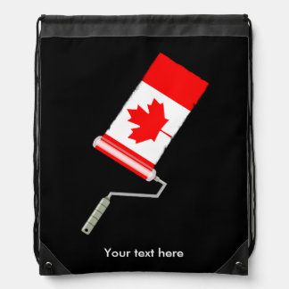 Canadian Flag Paint Roller Drawstring Bag