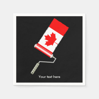 Canadian Flag Paint Roller Paper Napkin