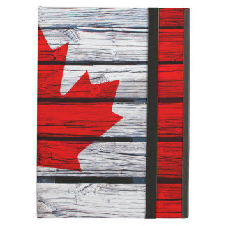 Canadian Flag Painted on Rustic Wood Case For iPad Air