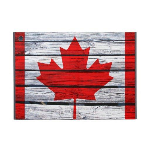 Canadian Flag Painted on Rustic Wood iPad Mini Case