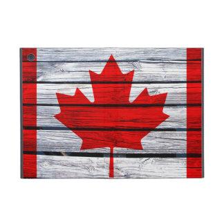 Canadian Flag Painted on Rustic Wood iPad Mini Covers