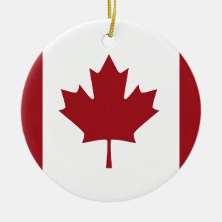 Canadian flag round ceramic ornament