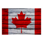 Canadian Flag Rustic Wood Poster