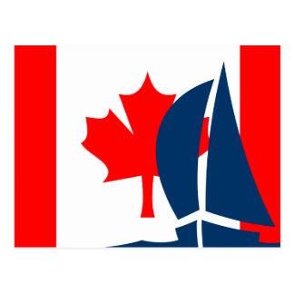 Canadian Flag Sailing Boat Canada Nautical Postcard