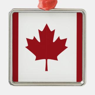 Canadian flag Silver-Colored square ornament