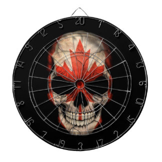 Canadian Flag Skull on Black Dartboard With Darts