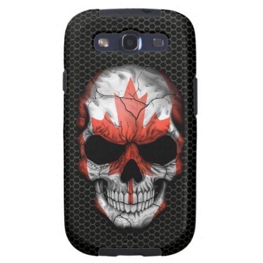 Canadian Flag Skull on Steel Mesh Graphic Samsung Galaxy S3 Cover