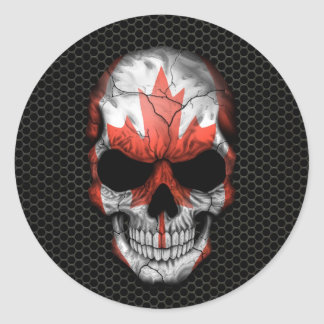 Canadian Flag Skull on Steel Mesh Graphic Round Sticker
