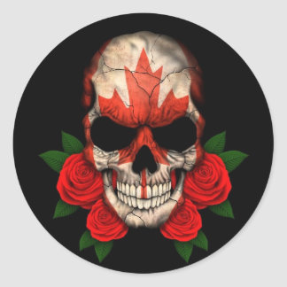 Canadian Flag Skull with Red Roses Round Sticker