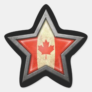 Canadian Flag Star on Black Star Sticker