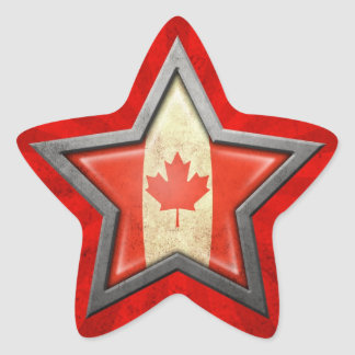 Canadian Flag Star with Rays of Light Stickers
