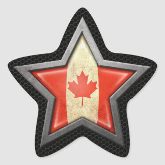 Canadian Flag Star with Steel Mesh Effect Sticker
