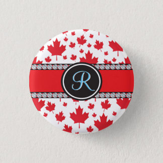Canadian Flag Trendy Maple Leaf Abstract Monogram 1 Inch Round Button