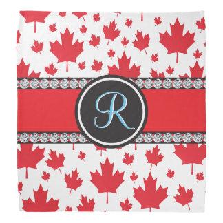 Canadian Flag Trendy Maple Leaf Abstract Monogram Bandana