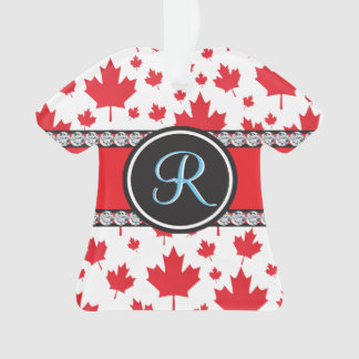 Canadian Flag Trendy Maple Leaf Abstract Monogram Ornament