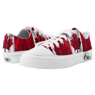 Canadian Flag Waving Low-Top Sneakers